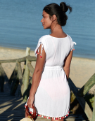 Short Beach Dress in White by Bravissimo