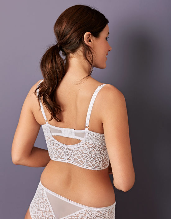 6299a40f9ca390 Soiree Lace Plunge Longline Bralette in White by Freya
