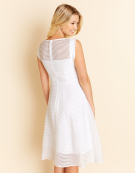 Gabby Sheer Stripe Dress in White by Bravissimo Clothing