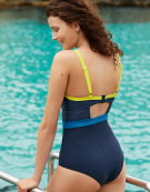Maya Swimsuit Plunge Swimsuit in Navy/Lime by Curvy Kate Swim