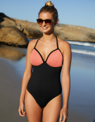 Hawaii Swimsuit Wire-Free Swimsuit in Black/Coral by Bravissimo