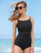 Seville Plunge Tankini Top in Black by Bravissimo