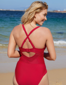 Sheer Class Swimsuit in Red by Curvy Kate Swim