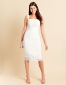 Katy Grid Lace Dress in White by Bravissimo Clothing