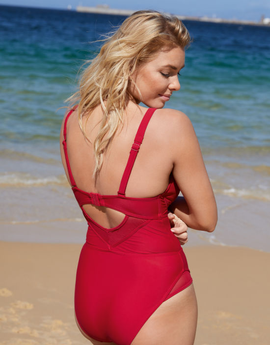 c7734c51ea7b1 Sheer Class Swimsuit in Red by Curvy Kate Swim   Bravissimo