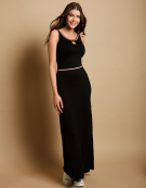 Sporty Trim Maxi Dress in Black by Bravissimo Clothing