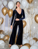 Velvet Wrap Jumpsuit in Midnight by Bravissimo Clothing