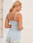 Lace Trim Cami Top PJ Cami Top in Powder Blue by Bravissimo