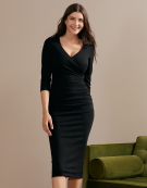 Leila 3/4 Sleeve Dress in Black by Bravissimo Clothing