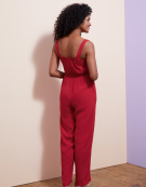 Wrap Front Jumpsuit in Red by Bravissimo Dresses
