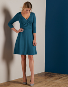 Jessica Full Skirt Dress in Petrol Blue by Bravissimo Clothing