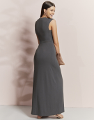 Deep V Neck Maxi in Grey by Bravissimo Clothing