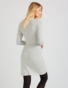 Drawstring Tunic Knitted Dress in Oatmeal Marl by Bravissimo Clothing