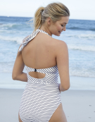 Mykonos Swimsuit in Navy Stripe by Bravissimo
