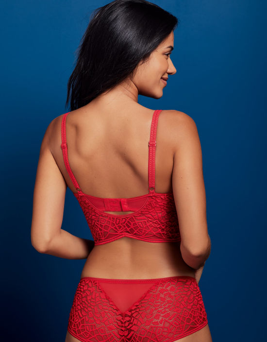 361a9300d9 Sale. Soiree Lace Plunge Bralette in Red by Freya
