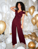 Sienna Jumpsuit in Wine by Bravissimo Clothing