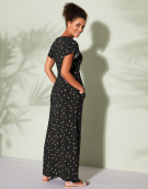 Kimono Maxi Dress in Black Spot by Bravissimo Clothing