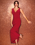 Twist Side Maxi Dress in Ruby Red by Bravissimo Clothing