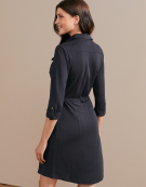 Jersey Shirt Dress in Charcoal Grey by Bravissimo Dresses