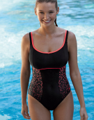 Premiere Ultimate Swimsuit Sports Wired Swimsuit in Black/Neon Coral by Speedo