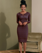 Gracie Dress in Navy/Rust by Bravissimo Clothing
