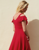 Cold Shoulder Sundress in Red by Bravissimo Dresses