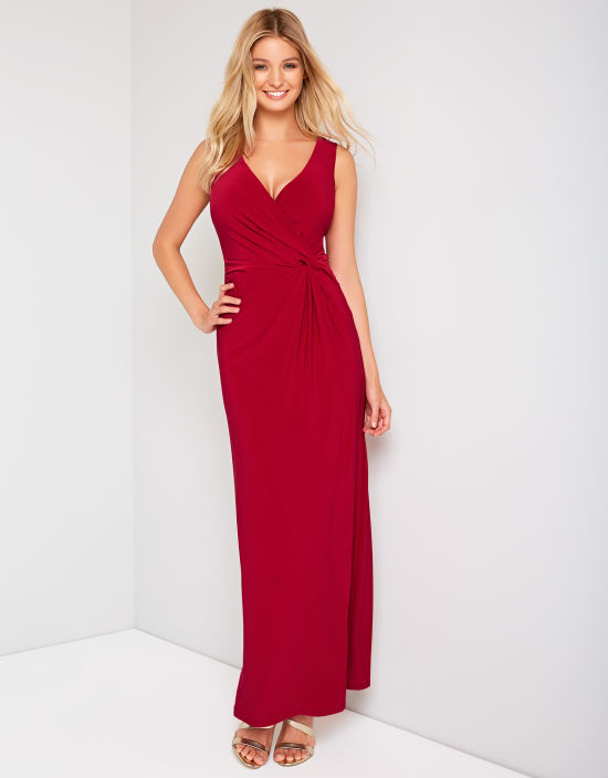 Twist Side Maxi Dress in Ruby Red by Bravissimo Clothing 644c6bcca