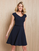 Lois Pleat Trim Dress in Navy by Bravissimo Clothing