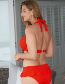 Sorrento Halterneck Bikini Top in Orange by Bravissimo