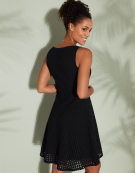 Fit And Flare Broderie Dress in Black by Bravissimo Clothing