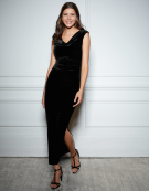 Velvet Cowl Neck Maxi in Black by Bravissimo Clothing