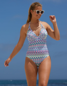 St Lucia Swimsuit Halterneck Swimsuit in Multi Print by Bravissimo