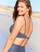 Amalfi Plunge Bikini Top in Navy Stripe by Bravissimo