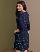 Alex Zip Front Dress in Navy Spot by Bravissimo Clothing