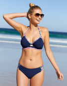 St. Bart's Halterneck Bikini Top in Navy Print by Miss Mandalay