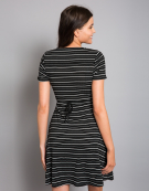 Lottie Dress in Black/White Stripe by Bravissimo Clothing