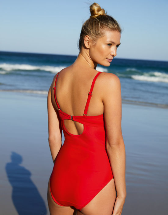 8b0229b38386 Siena Swimsuit Plunge Swimsuit in Red by Bravissimo