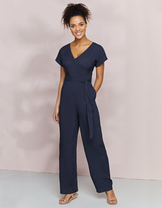 cad659560e1 Kimono Jumpsuit in Navy by Bravissimo Clothing