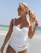 Anya Crochet Bandeau Tankini in White by Panache Swimwear