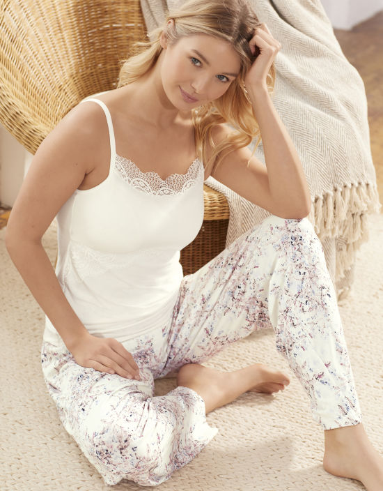91727d1305 Lace Trim Cami Top PJ Cami Top in Ivory by Bravissimo