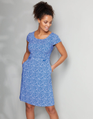 Tab Waist Dress in Cobalt Print by Bravissimo Clothing