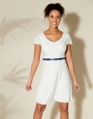 Lucy Dress in White/Navy Spot by Bravissimo Dresses