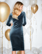 Long Sleeve Velvet Dress in Smoky Blue by Bravissimo Clothing
