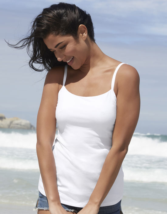 a3a3c18d5babc Non Padded Vest Top With Built-In Bra in White by Bravissimo