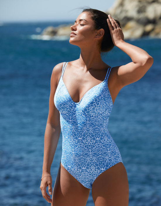 509330abe8 Amalfi Swimsuit Plunge Swimsuit in Blue Print by Bravissimo