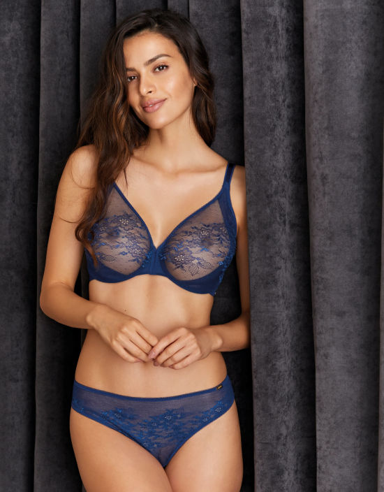 Glossies Lace Plunge Bra in Blue by Gossard  c1e5d311f