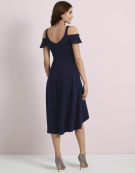 Cold Shoulder Dress in Navy by Bravissimo Dresses