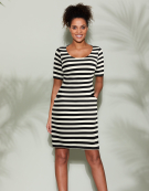 Stripe A-Line Dress in Black/White by Bravissimo Clothing