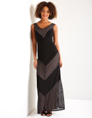 Sheer Chevron Maxi Dress in Black Mix by Bravissimo Clothing