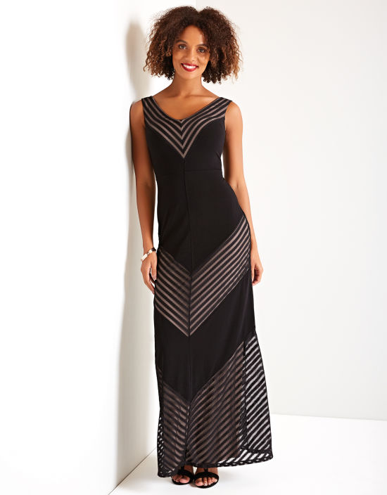 1c619b669ecb Sheer Chevron Maxi Dress in Black Mix by Bravissimo Clothing